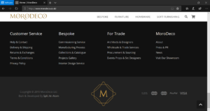 MoroDeco Website Footer