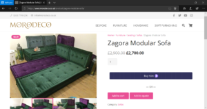 MoroDeco Zagora Modular Sofa on Website