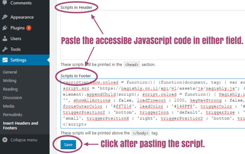 Scripts in header and scripts in footer