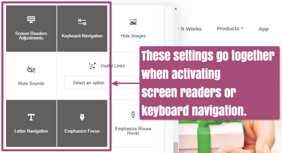 accessiBe Letter Navigation, Screen Reading, and Emphasize Focus